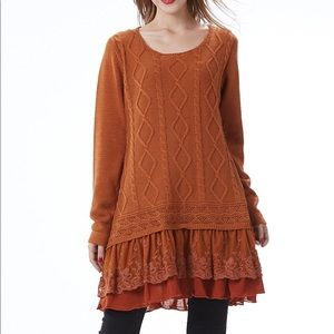 Sweaters - NEW Rust Tunic Sweater with Lace Trim